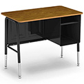 "Virco® 765 Junior Executive Student Desk 20""x34"", Black Frame with Oak Top"