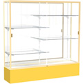 "Spirit Display Case Golden Rod Base, Gold Frame, Mirror Back 72""W x 16""D x 72""H"