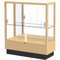 "Heritage Display Case Honey, Fabric Back 36""W x 14""D x 40""H"