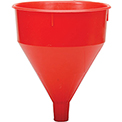 Funnel King® Red Safety Polyethylene 6 Quart Funnel w/ 60 Micron Filter Screen - 32006