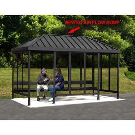 Anodized Aluminum Smoking Shelter With Vented Standing Seam Roof