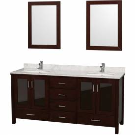 Double Floor Mount Vanity Sets W/Tops, Sinks & Mirrors