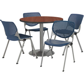 KFI - Table with 4 Poly Stack Chairs with Perforated Back Set