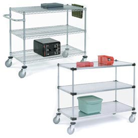 Nexel® Adjustable Chrome Wire or Solid Galvanized Shelf Utility Carts