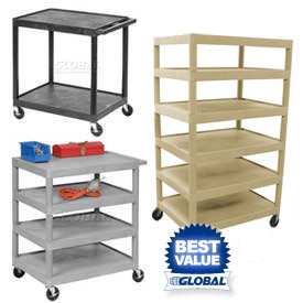 Luxor® Plastic Shelf Utility Trucks