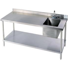 "Aero Manufacturing 2TG\B3072T100 72""W X 30""D 14 Gauge Stainless Workbench w/ Shelf & Right Sink"