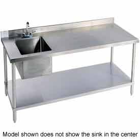 "Aero Manufacturing 2TSB3096T100C 96""W X 30""D 14 Gauge Stainless Workbench w/ Shelf & Sink"