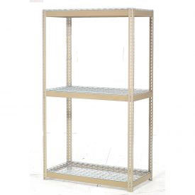 "Expandable Starter Rack 96""W x 48""D x 84""H Tan With 3 Level Wire Deck 1100lb Cap Per Level"