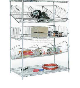 Adjustable Chrome Wire Bin Pick Rack & Truck