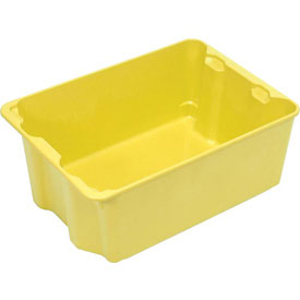"Molded Fiberglass Nest and Stack Tote 780008 with Wire - 42-1/2"" x 20"" x 14-1/4"", Yellow"