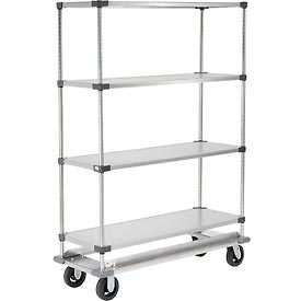 Nexel® Galvanized Shelf Truck with Dolly Base 60x18x81 1600 Pound Capacity