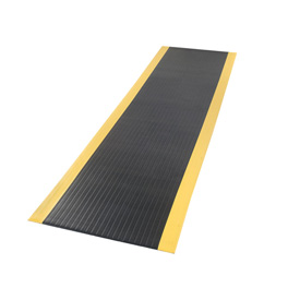Ribbed Surface Mat 3/8 Thick 4 Foot Wide Black With Yellow Borders