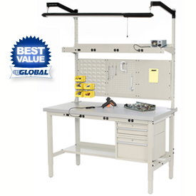 Heavy Duty Height Adjustable Production Workbench - Tan