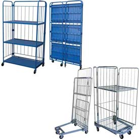 Vestil Folding Roller Container Shelf Trucks