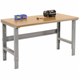 "60""W X 30""D Shop Top Safety Edge Work Bench - Adjustable Height - 1 3/4"" Top - Gray"