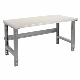 "72""W X 36""D Plastic Laminate Safety Work Bench - Adjustable Height - 1-5/8"" Top - Gray"