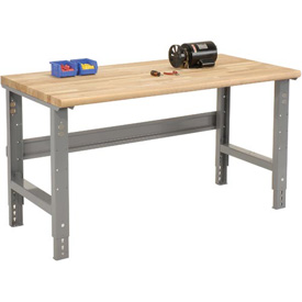"72""W X 36""D Ash Butcher Block Safety Edge Workbench - Adjustable Height - 1 3/4"" Top - Gray"