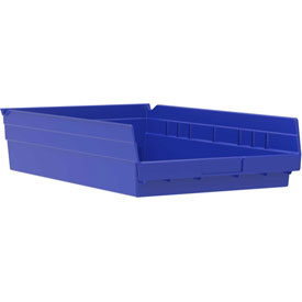 "Akro-Mils Plastic Shelf Bin Nestable 30174 - 11-1/8""W x 23-5/8""D x 4""H Blue - Pkg Qty 6"