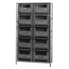 Quantum QSBU-700 Shelving With 10 Giant Hopper Bins Gray, 42x18x75