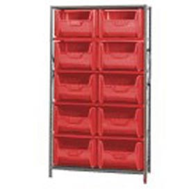 Quantum QSBU-700 Shelving With 10 Giant Hopper Bins Red, 42x18x75