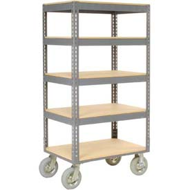 Easy Adjust Boltless 5 Shelf Truck 60 x 24 with Wood Shelves - Pneumatic Casters