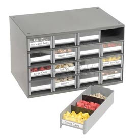 "Akro-Mils Steel Small Parts Storage Cabinet 19416 - 17""W x 11""D x 11""H w/ 16 Gray Drawers"