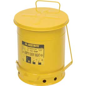 10 Gallon Justrite Oily Waste Can - Yellow