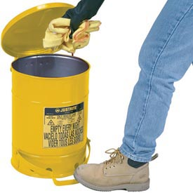 14 Gallon Justrite Oily Waste Can - Yellow