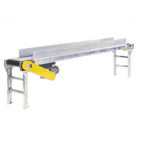 "Omni Metalcraft Powered 12""W x 10'L Belt Conveyor with 6""H Side Rails BHSE12-0-12-F60-0-0.5-4-SIDES"