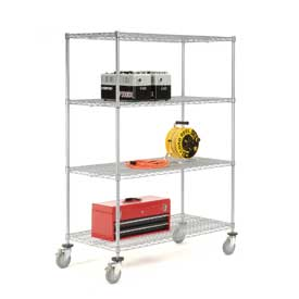 Nexelate Wire Shelf Truck 60x24x80 1200 Pound Capacity With Brakes