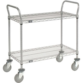 Nexelate Wire Shelf Utility Cart 36x24 2 Shelves 800 Lb. Capacity