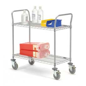 Nexelate Wire Shelf Utility Cart With Brakes 36x24 2 Shelves 800 Lb. Capacity
