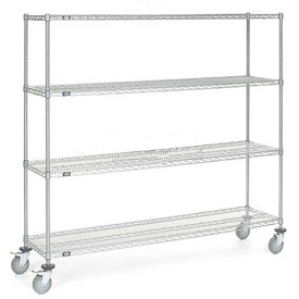 Nexel® Chrome Wire Shelf Truck 72x18x69 1200 Pound Capacity with Brakes