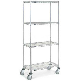 Nexel® Chrome Wire Shelf Truck 36x18x80 1200 Pound Capacity with Brakes