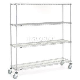 Nexel® Chrome Wire Shelf Truck 72x18x80 1200 Pound Capacity with Brakes