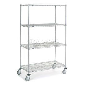 Nexel® Chrome Wire Shelf Truck 48x24x80 1200 Pound Capacity with Brakes