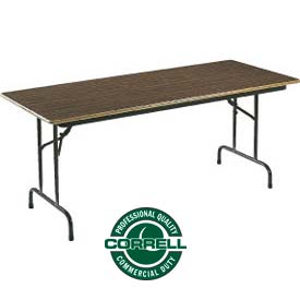 "Correll Folding Table - Laminate - 30"" X 96"" - Walnut"