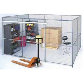 Wire Mesh Partition Security Room 10x10x8 with Roof - 3 Sides