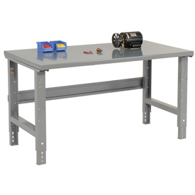"60""W X 36""D Steel Square Edge Top Workbench - Adjustable Height - 1 3/4"" Top - Gray"