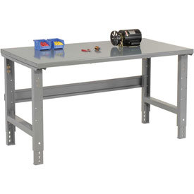 "72""W X 36""D Steel Square Edge Top Workbench - Adjustable Height - 1 3/4"" Top - Gray"