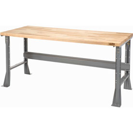 "60""W X 30""D X 34""H Maple Butcher Block Square Edge Workbench - Gray"