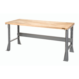"60""W X 36""D X 34""H Maple Butcher Block Square Edge Workbench - Gray"