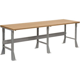 "96""W X 30""D X 34""H Shop Top Square Edge Workbench - Gray"