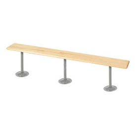 "Locker Bench Hardwood Top w/Steel Tube Pedestals, Bolt Down Style, 96""W x 9-1/2""D x 17""H"