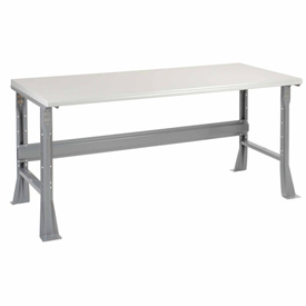 "72""W X 36""D X 34""H Plastic Laminate Safety Edge Workbench - Gray"