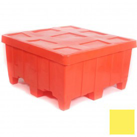 """Myton Forkliftable Bulk Shipping Container MTG-2 with Lid - 44""""L x 44""""W x 23""""H, Yellow"""