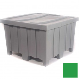 """Myton Forkliftable Bulk Shipping Container MTD-2 with Lid - 44""""L x 44""""W x 29-1/2""""H, Green"""