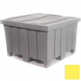 """Myton Forkliftable Bulk Shipping Container MTD-2 with Lid - 44""""L x 44""""W x 29-1/2""""H, Yellow"""