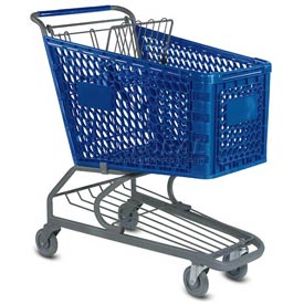 VersaCart® Blue Plastic Shopping Cart 5.2 Cu. Ft. Capacity 103-145-DBL-BH