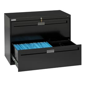 "Deluxe Fixed Front Lateral File Cabinet 42""W X 28""H - Black"